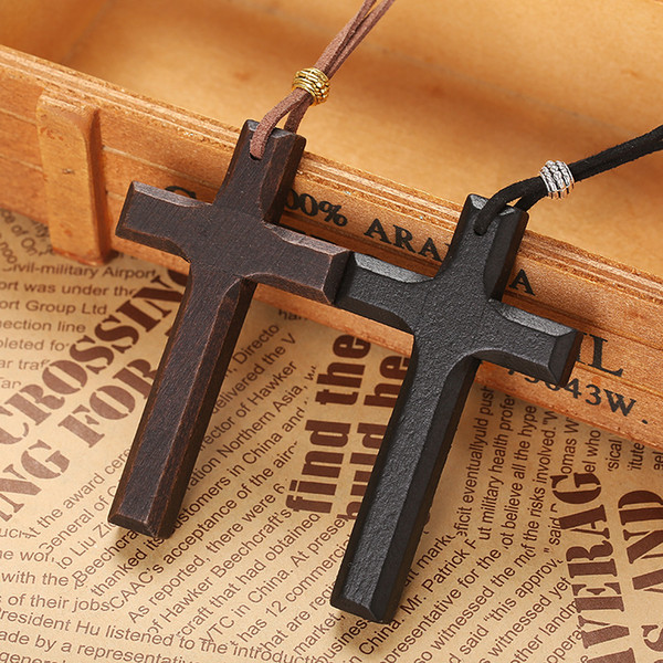 Promotion vintage handicraft wooden cross penadnt necklace women's couple long pendant sweater chain factory price Xmas gifts in stock