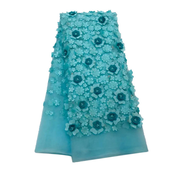 High Quality Lace Fabric Latest French 3D Applique Laces Fabric With Beaded Wedding Peach Nigerian French Lace Fabric