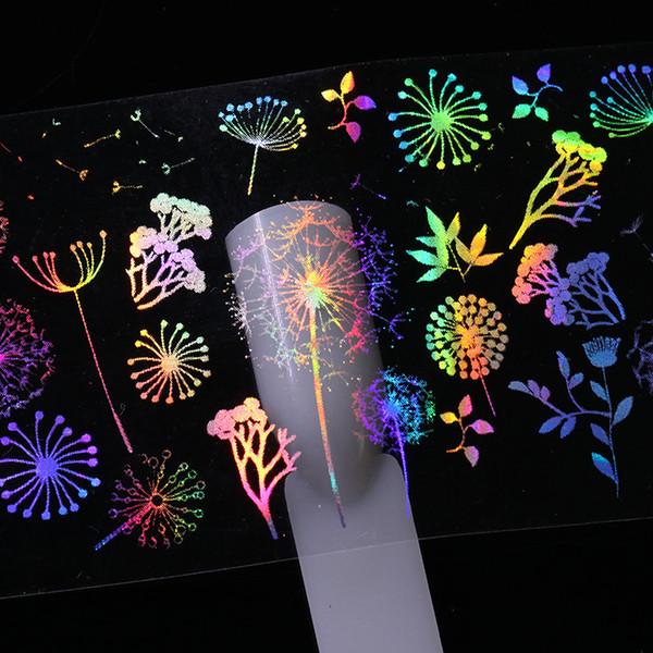 10 Pcs 4*20cm Holographic Nail Foil Rose Panda Butterfly Dandelion Fire Love Valentine's Day Nail Art Transfer Sticker
