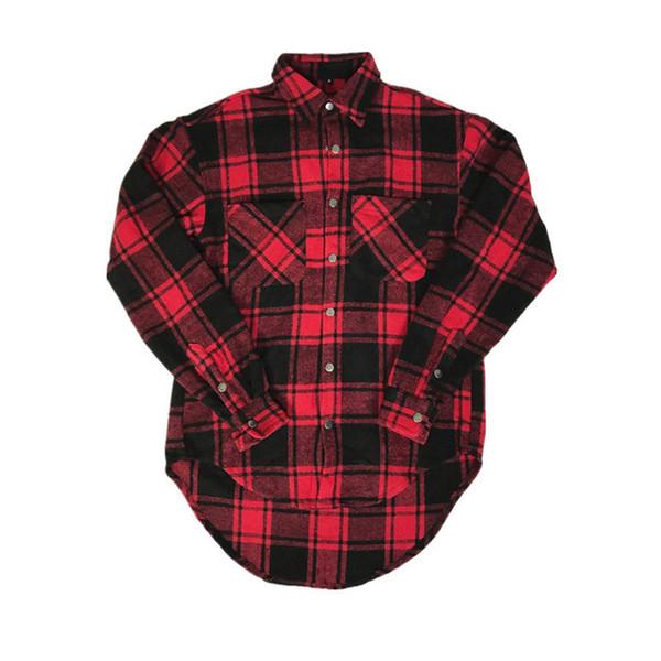 kanye west fear of god shirts fashion men women loose oversize shirts long sleeve woollen cloth hip hop plaid thick warm shirts
