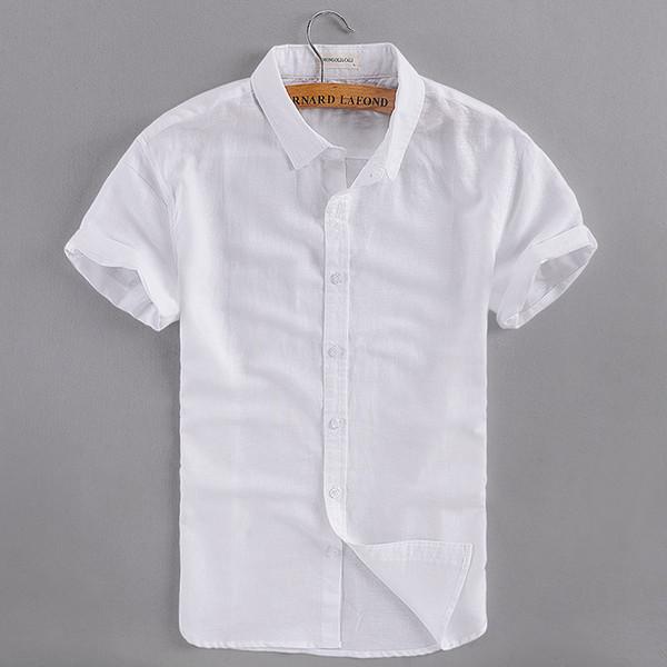 2017 Estate nuovo business casual camicia di lino uomo cotone manica corta bianco uomo camicia marchio di abbigliamento uomo camicie camisa masculina