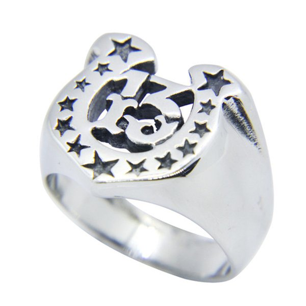 1pc Size 7-13 Polish Stars Ring 316L Stainless Steel Popular Fashion Jewelry Biker Hiphop Style Hot Selling Men Boys Number 13 Ring