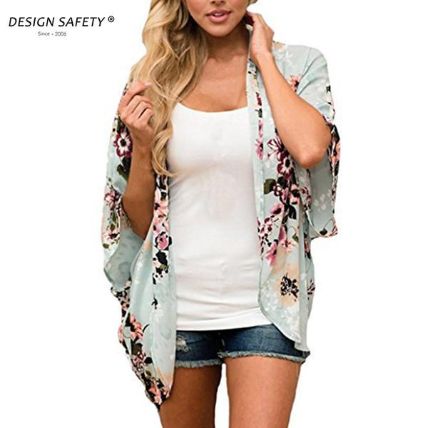 Frauen Floral Printed Cardigan Herbst 3/4 Ärmel Blume Strickjacke Kimono dünne Jacke Mantel Damen Tops Outwear Blusas Schal