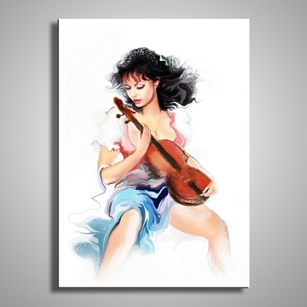Handmade oil painting on canvas modern 100% Best Art violin and Lucy oil painting decorative wall pictures painting art