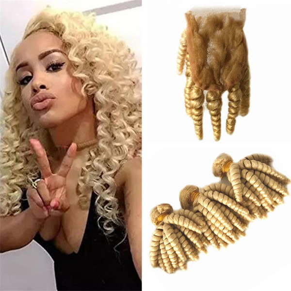 Bleach Blonde 613 Funmi Hair Bundles with Lace Closure Bouncy Curls Hair Extensions Spring Curly Human Hair Weaves with Top Closure