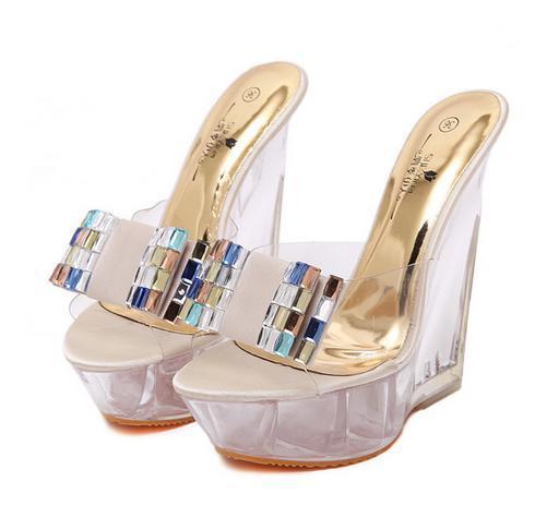 Summer High-heeled Cool Slippers Transparent Diamonds Crystal Shoes Wedge-heel High Heels Sandals Women Nightclub Shoes 2680