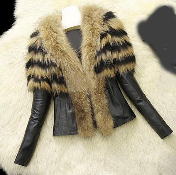 2018 Women Winter Faux Leather Jackets Lady Motorcycle Biker Jacket Outerwear Short Warm Long Sleeve Big Fur Collar Jacket