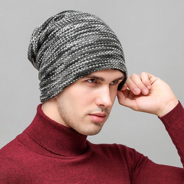 Berretto a righe in maglia a maglia calda per uomo autunno e inverno Caldo cappello a vento in lana per uomo e donna