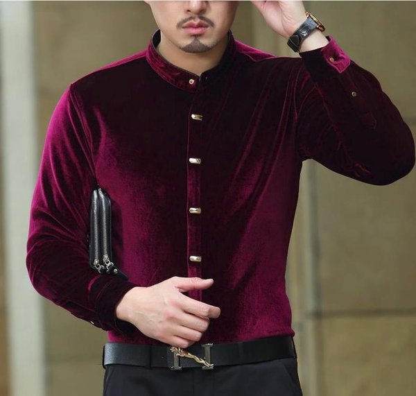Top de Moda de Luxo Na Moda Mens Camisas de Seda Gola Formal Preto Vermelho Azul Camisa De Veludo Vestido Camisas Slim Fit Drop Shipping