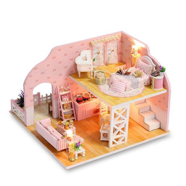 Genuino MUQGEW Juguetes Para Niños 3D Muebles de Casa de Madera DIY Miniatura LED Decorar Regalos de Navidad Creativos 10 Casa de Muñecas # 5L