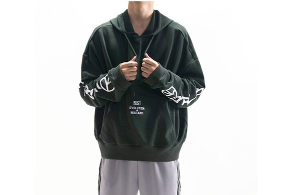 hoodie men spring casual loose pullovers hooded letters printed design sweatshirts long sleeved  clothing