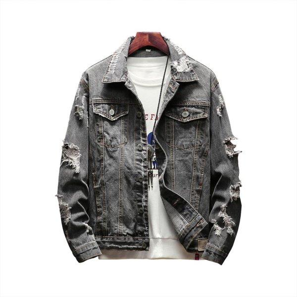 Nueva chaqueta de mezclilla de agujero de otoño de los hombres Moda hip hop hombres de manga larga chaqueta de Jean vintage retro lavado gris chaquetas casuales rasgados