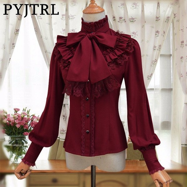 PYJTRL Vintage LOLITA Wine Red Black Blue White Long Sleeve Chiffon Shirt Women Stand Collar Elegant Blusas Female Gothic Blouse Y1891302
