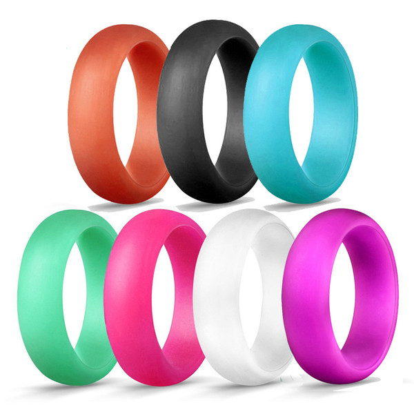 Fashion 5.7MM Silicone Wedding Rings Solid color Women s Hypoallergenic O-ring Band Comfortable Lightweigh Men Ring for Couple Jewelry Gift