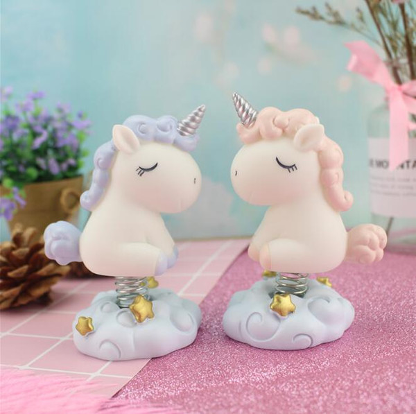 2 Colors Spring Base Unicorn Car Toys Dolls Dashboard Car Decoration Accessories Auto Shaking Toy Car Novelty Items CCA10380 48pcs