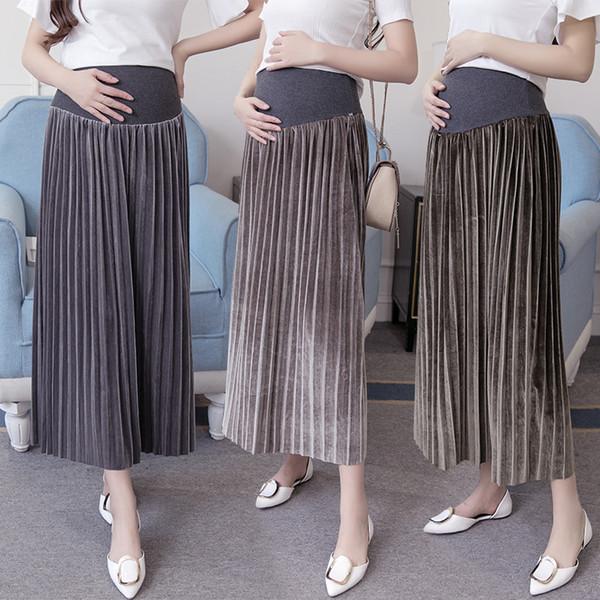 maternity midi skirts long for pregnant women pregnancy skirt office wear skirts Velour winter nursing clothes clothing M-XXL