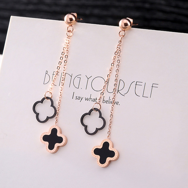 Classic Women Long Chain Black Leaf DangleEarrings Rose Gold Plated Stainless steel Earrings Best Gifts For Girl Friend Birthday Anniversary