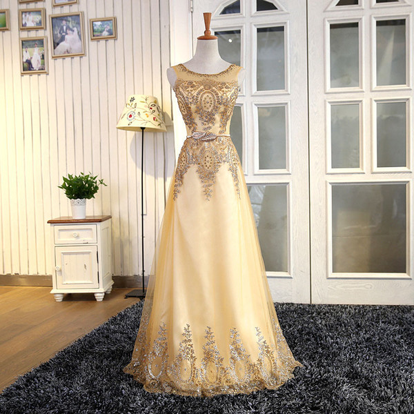 Tulle Lace Muslim Gold ball gown graduation Evening Dress Long Formal gown Prom Robe de Soiree Mother of the Bride Dresses come with Belt