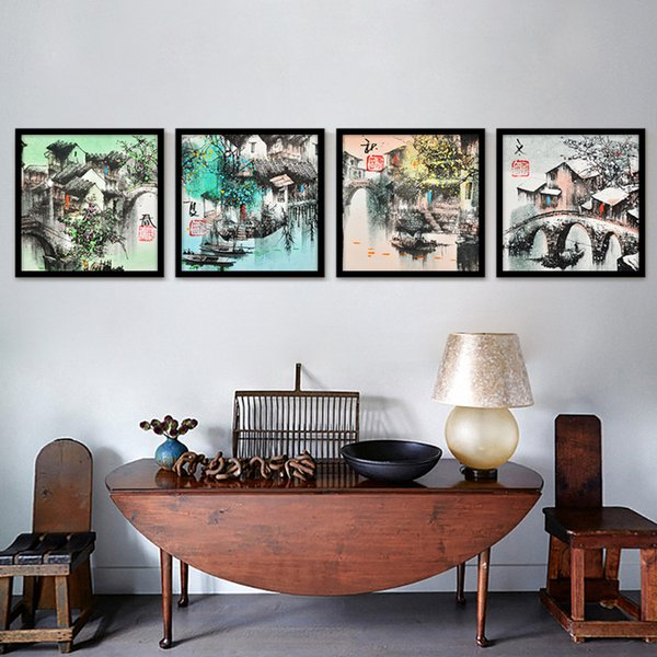 Abstract Modern Four Seasons Picture China Black And White Ink Painting Room Wall Poster Art Canvas Decoration Without Frame