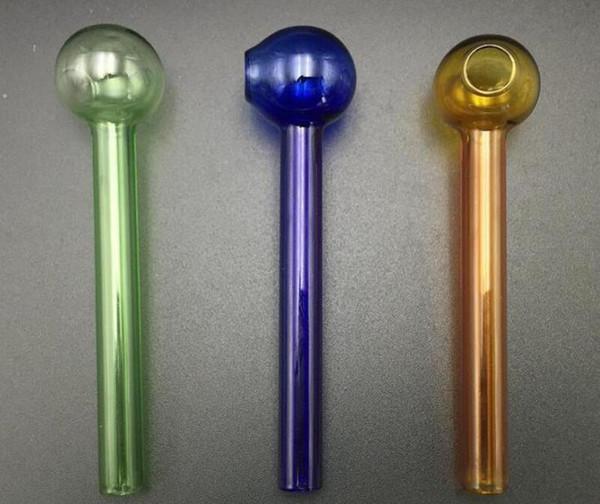 Tubo de vidrio de 10 cm de color para quemador de aceite Tubo de vidrio Tubo de aceite de vidrio de uñas Grueso 8 colores para fumar bongs