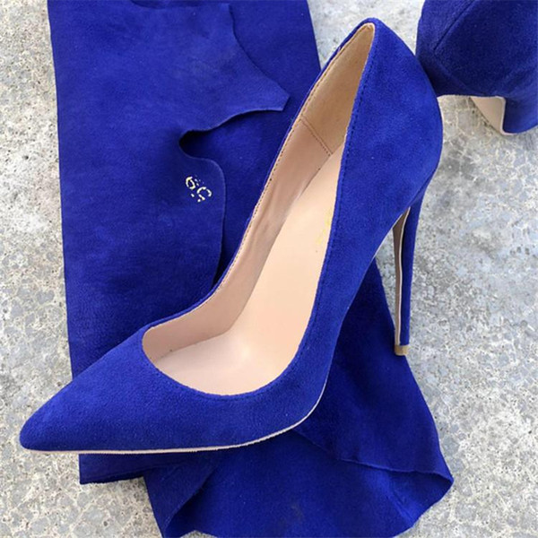 Free Shipping fashion woman women lady 2019 Navy blue suede leather Wedding heels Stiletto High Heels shoes pumps boots sandals 12cm 10cm