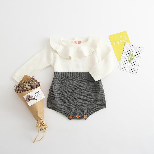 Printemps Automne bébé Filles Body Toddler Tricoté En Laine Combinaison À Manches Longues Peter Pan Col Jolie Fille Tenues Nouveau-Né Vêtements