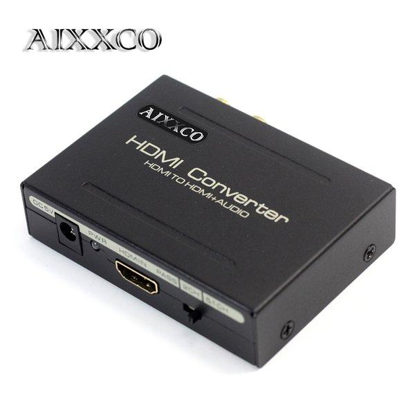 AIXXCO HDMI Audio Extractor Splitter a SPDIF RCA Convertidor de salida analógica L / R estéreo Adaptador de divisor con adaptador de alimentación