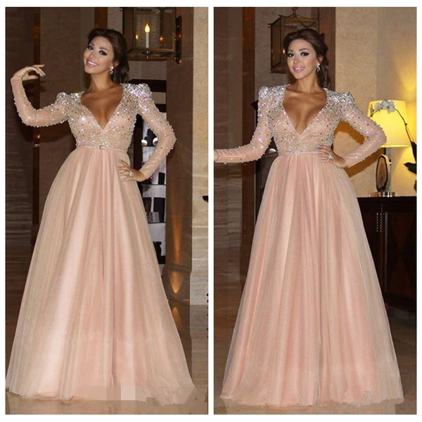 Myriam Fares 2018 Formal Evening Dresses Long Sleeves Vestidos Sweetheart Prom Party Gowns With Crystals Beaded Cheap Celebrity Dresses