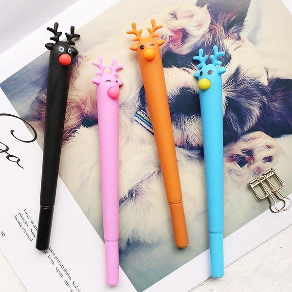 top popular Kawaii Christmas Elk Gel Pen 0.5mm Full Needle Black Ink Pen School Office Supplies Stationery For Writing 352 2019