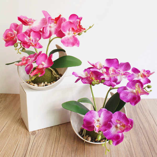 High imitation force real benefit type Trident Phalaenopsis Creative Bonsai simulation flower manufacturers Simulation plant potted plants