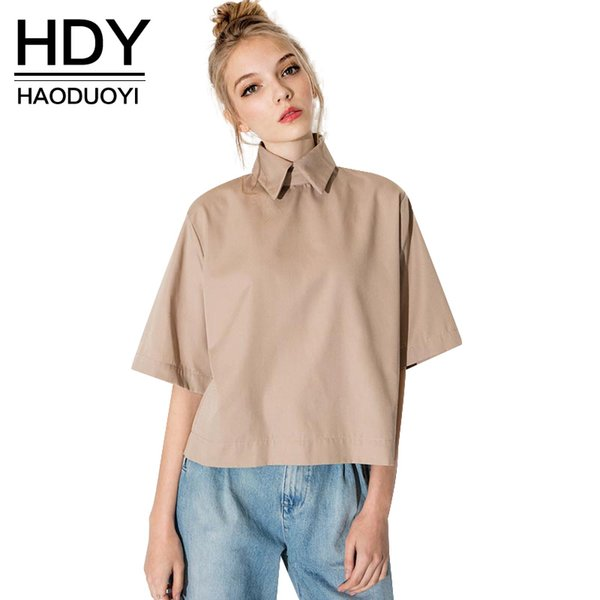 HDY Haoduoyi Fashion Tops Turn Down Collar Blouse Slim Women Shirt For And Free Shipping Wholesale Retro Preppy Style