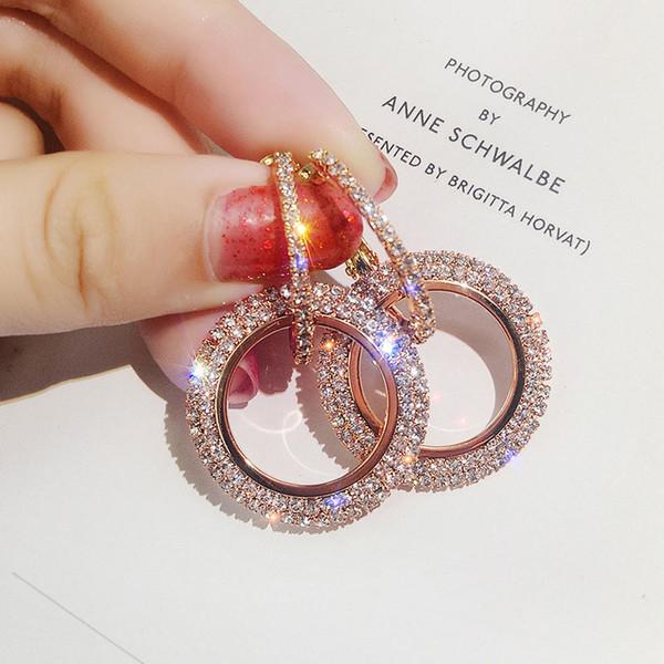 Fashion Korean Style Große Runde Ohrringe Kreis Rose Gold Farbe Zirkonia Strass Baumeln Ohrring für Frauen Schmuck
