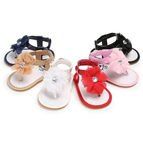 Toddler Infant Baby Girl Sandals Flower Soft Sole Crib Cute Shoes Baby Girls Sandals 0-18M