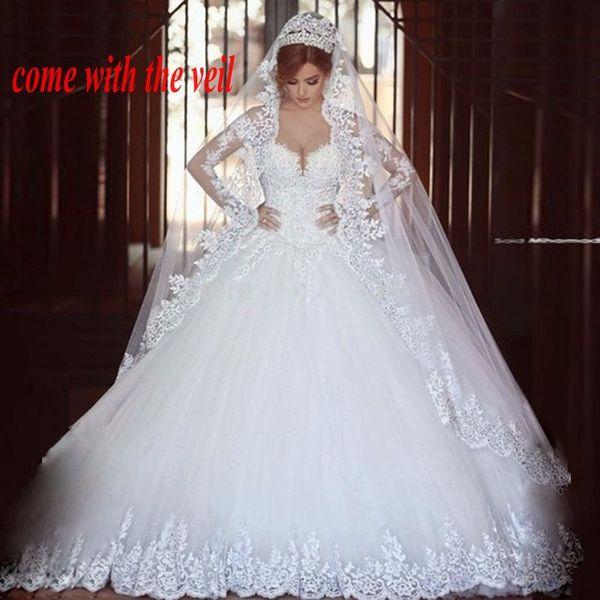 Long Sleeves Appliques Arab Wedding Dresses Muslim Bridal Gowns vestido de noiva princesa Bride Dress with Veil trouwjurk