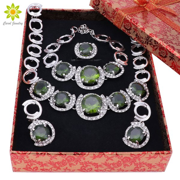 african jewelry set silver New African Jewelry Sets Silver Color Green Crystal Women Wedding Necklace Bracelet Earrings Ring Set+Gift Boxes