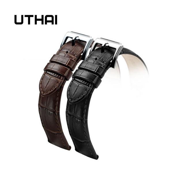 UTHAI Z01 Yeni İzle Bilezik Kemer Siyah Saat Kayışı Hakiki Deri Kayış Watch Band 18mm 20mm 22mm Kuvars Bantları