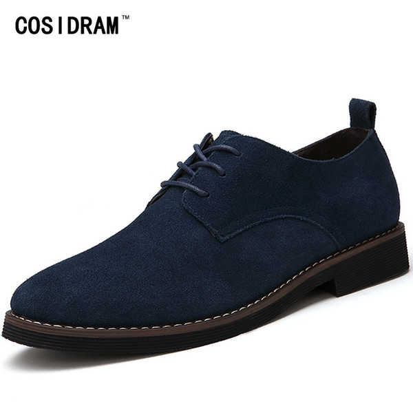 COSIDRAM Plus Size 45 Hombres Oxfords Faux Suede Leather Casual Shoes Primavera Otoño Moda Oxford Shoes Hombres 2017 Hombre BRM-895