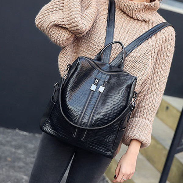 bb4b4b188d08 Simple Style Backpack Women PU Leather Backpacks For Teenage Girls School  Bags Fashion Vintage Solid Black