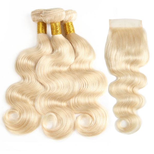 613 Blonde Bundles With Frontal Brazilan Virgin Body Wave Human Hair Bundles With Lace Frontal Ear To Ear Unprocessed Human Hair Weaves Hot