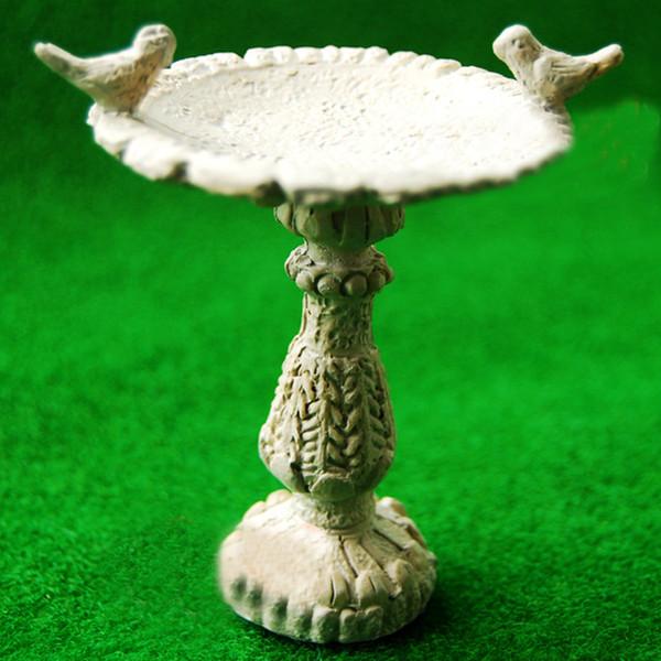 DIY 1:12 Escala de la casa de muñecas Resina Fuente de Baño de Aves Miniatura Mini Hada Jardín Muebles Hechos A Mano Fuente de Decoración