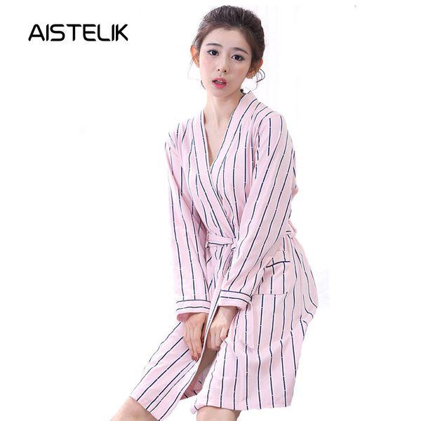Herbst-Pyjama-Frauen langärmelige Baumwolle Strickjacke Nachthemd sexy Göttin Mode rosa Baumwolle Nachthemd kleiner Herbst