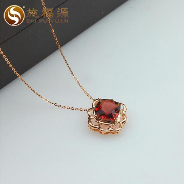 ShiFuYuan solide 18 Karat Roségold natürliche Granat Halskette Anhänger edlen Schmuck für Geschenk S02047P