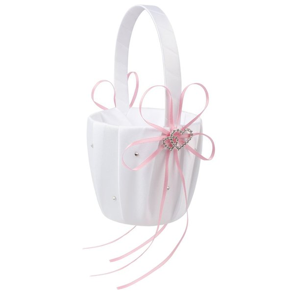 LHBL Double Heart Wedding Flower Girl Basket White Satin Rhinestone Decor Wedding Ceremony Party Favor