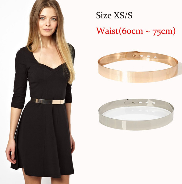 3cm Wide HOT Full Metal Plate Brand Belts for Women Gold & Silver Shinny for Summer Dresses Bride & Bridesmaid Belt size S M