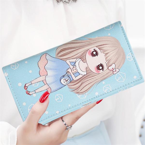 Moda linda chica billetera de dibujos animados anime patrón de impresión monederos larga carteras de cuero de la PU con cerrojo titular de la tarjeta niñas bolso de la cartera