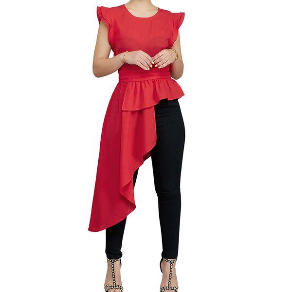 Fashion Summer Basic Women Black Long Tops Ruflles Sleeveless T-Shirt Casual Tee Collar Pullover Top Irregular Hem Tunic Tops