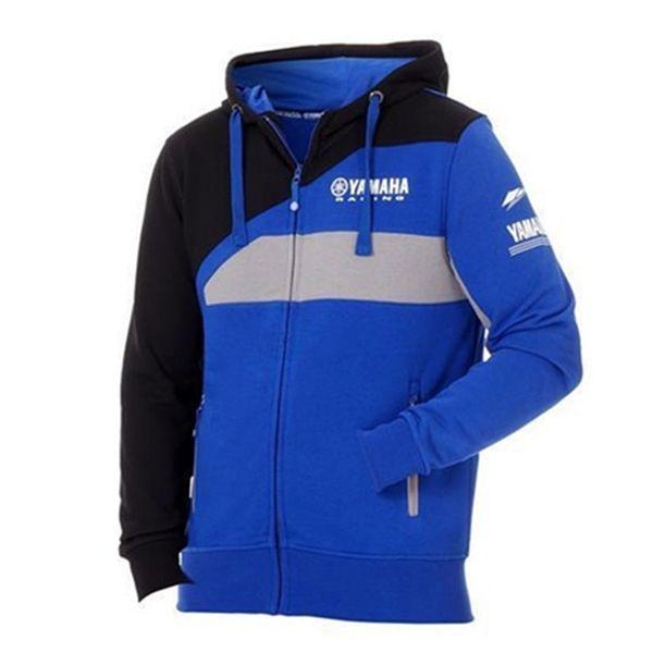 2018 Giacca da moto Motogp per Yamaha M1 Racing Team Paddock Felpa con cappuccio sportiva da uomo con cappuccio blu con cerniera blu Moto GP