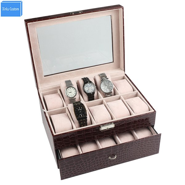 Luxury Case for Brand Watches/Jewelry Display/Storage Time Leather Velvet Window Lock 2 Layer 20 Slots Box Hour Wholesale/Retail