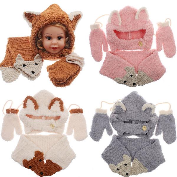 Bebek Kız erkek tilki örme Caps eşarp eldiven set karikatür 2018 kış Yün şapka INS çocuk Örme atkısı şapka mitten 3 adet / takım C5248