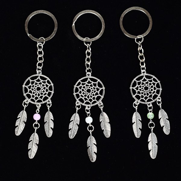 Dreamcatcher Bead Charm Pendant Keyring Keychain Key Ring With Feather Tassels